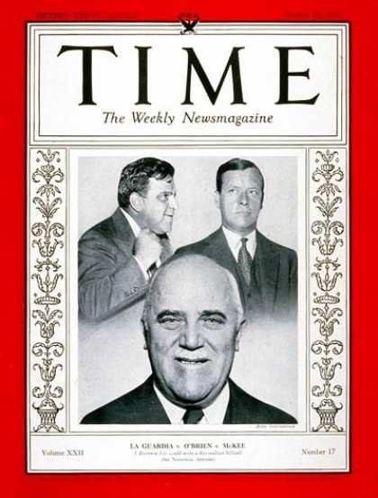 Time - LaGuardia, O'Brien & McKee - Oct. 23, 1933 - Fiorello LaGuardia - Mayors - New Y
