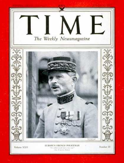 Time - General Maxim Weygand - Oct. 30, 1933 - General M. Weygand - France - Military -