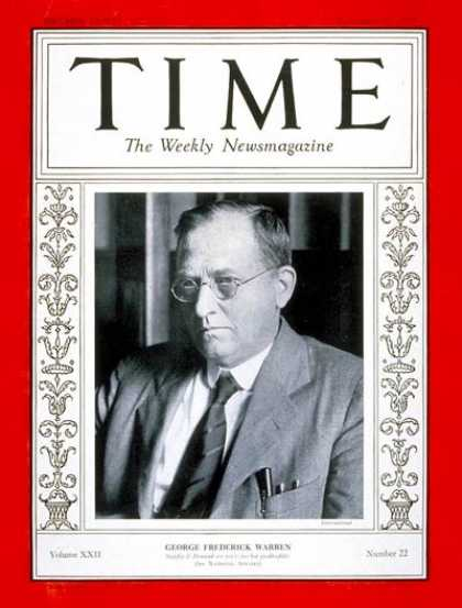 Time - George F. Warren - Nov. 27, 1933 - Agriculture - Politics