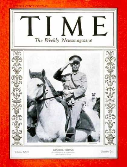 Time - Chiang Kai-shek - Dec. 11, 1933 - China