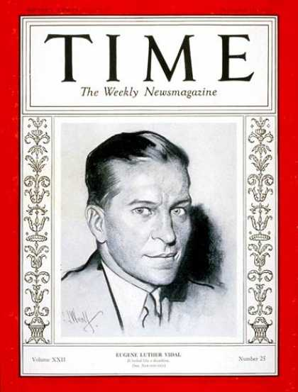 Time - Eugene L. Vidal - Dec. 18, 1933 - Government - Aviation