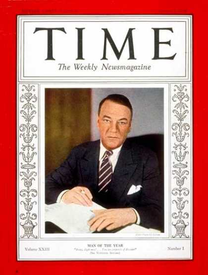 Time - Hugh S. Johnson, Man of the Year - Jan. 1, 1934 - Hugh S. Johnson - Person of th