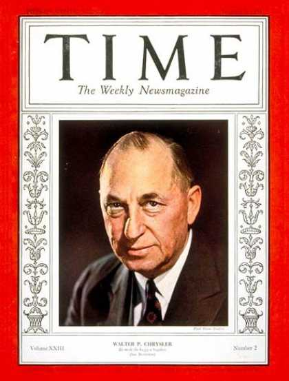 Time - Walter P. Chrysler - Jan. 8, 1934 - Finance - Cars - Business