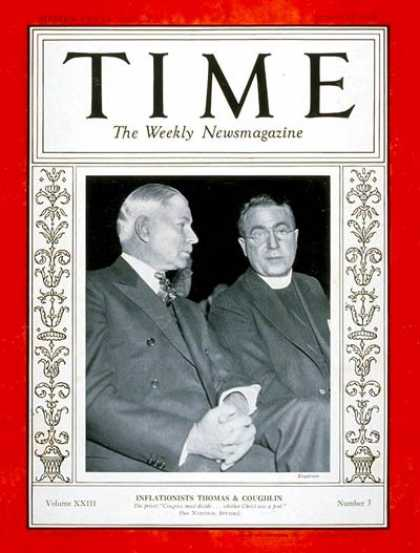Time - Senator Elmer Thomas & Father Coughlin - Jan. 15, 1934 - Congress - Senators - R