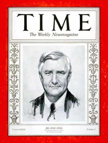 Time - Jesse H. Jones - Jan. 22, 1934 - Business - Great Depression - Politics - New De