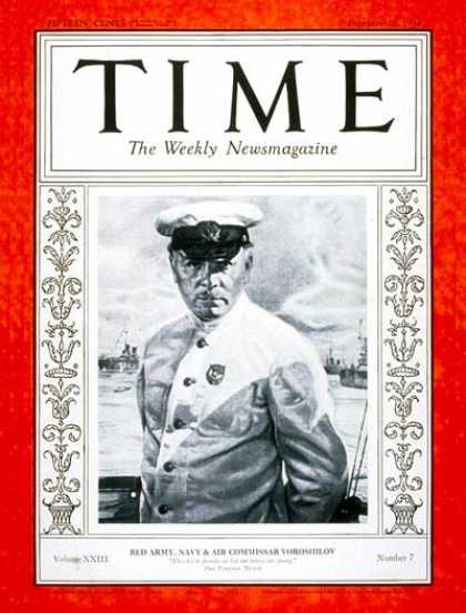 Time - Klimentiy Voroshilov - Feb. 12, 1934