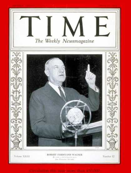 Time - Senator Robert F. Wagner - Mar. 19, 1934 - Congress - Senators - New York - Poli