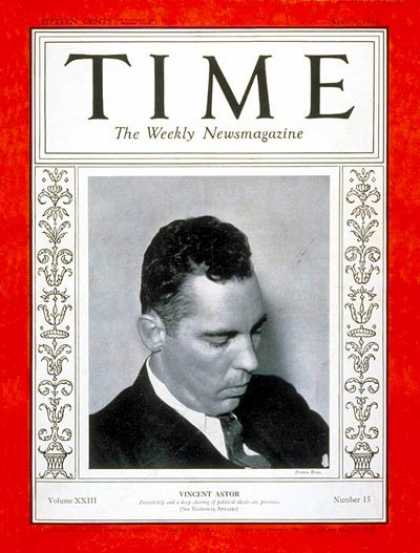 Time - Vincent Astor - Apr. 9, 1934 - Yachting - Business