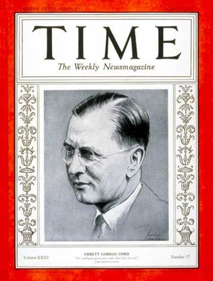 Time - Errett L. Cord - Apr. 23, 1934 - Finance - Cars - Business