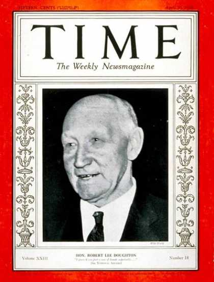 Time - Robert Lee Doughton - Apr. 30, 1934 - Agriculture - Business - Politics