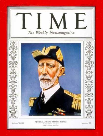 Time - Admiral Joseph Reeves - June 4, 1934 - Admirals - Navy - Aviation - Military