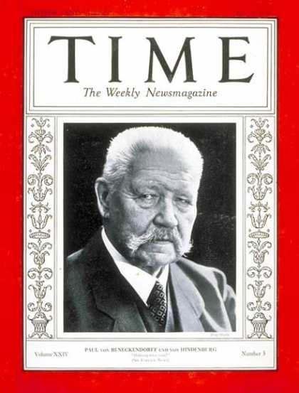 Time - Paul von Hindenburg - July 16, 1934 - World War I - Germany