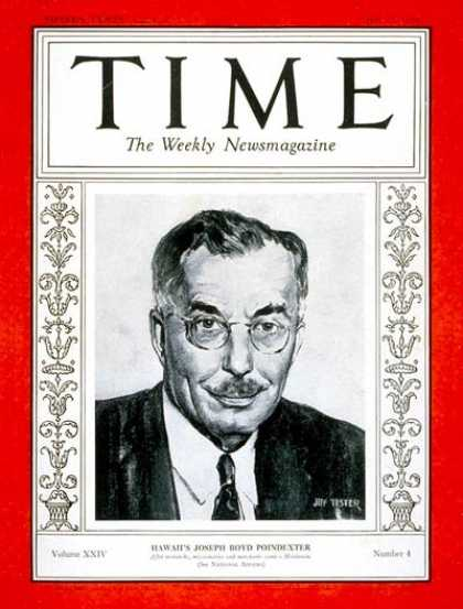Time - Joseph B. Poindexter - July 23, 1934 - Hawaii - Governors - Politics