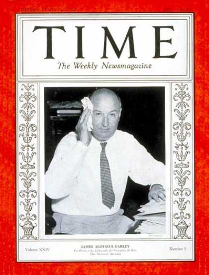 Time - James A Farley - July 30, 1934 - U.S. Postal Service - Politics