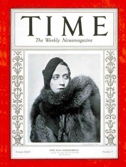 Time - Elsa Schiaparelli - Aug. 13, 1934 - Fashion