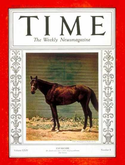 Time - Cavalcade - Aug. 20, 1934 - Animals - Horse Racing - Sports