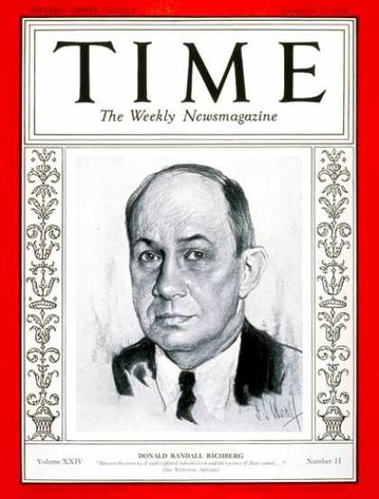 Time - Donald R. Richberg - Sep. 10, 1934 - Economy - Politics
