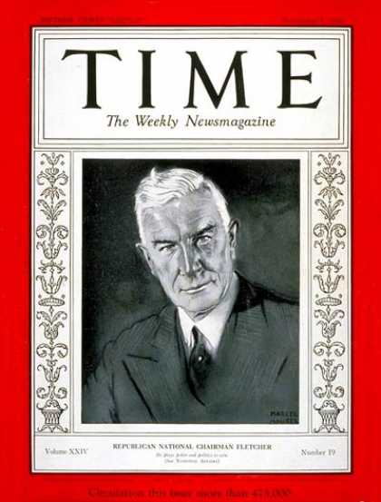 Time - Henry P. Fletcher - Nov. 5, 1934 - Ships - Cruise Ships - Military