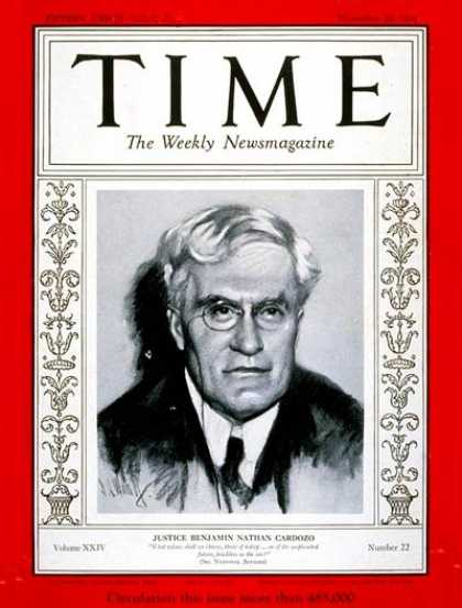 Time - Benjamin N. Cardozo - Nov. 26, 1934 - New York - Law
