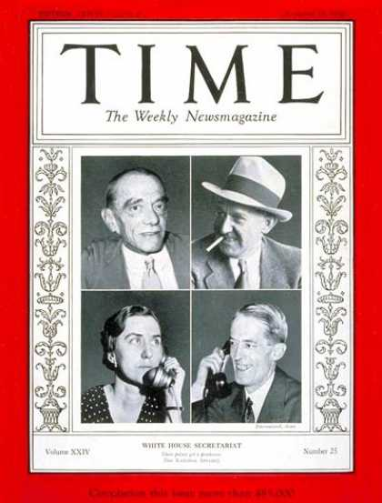 Time - White House Staffers - Dec. 17, 1934 - Politics