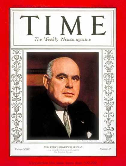 Time - Herbert H. Lehman - Dec. 31, 1934 - New York - Politics