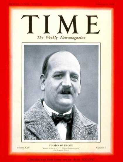 Time - Pierre E. Flandin - Feb. 4, 1935 - France