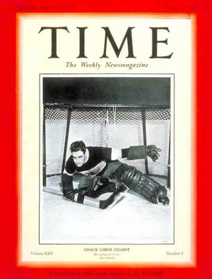Time - Lorne Chabot - Feb. 11, 1935 - Hockey - Sports