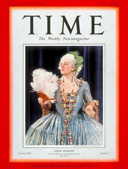 Time - Lotte Lehman - Feb. 18, 1935 - Opera - Singers - Music