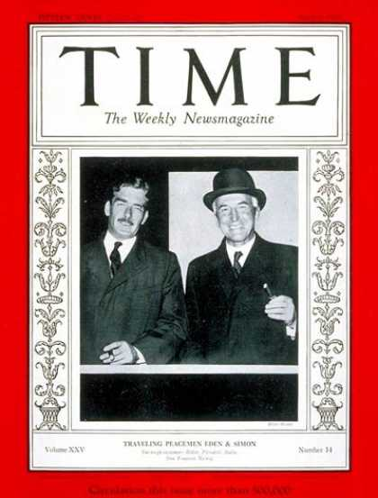 Time - Anthony Eden & Sir John Simon - Apr. 8, 1935 - Anthony Eden - World War II - Gre