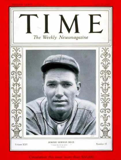 Time - Dizzy Dean - Apr. 15, 1935 - Baseball - St. Louis - Sports