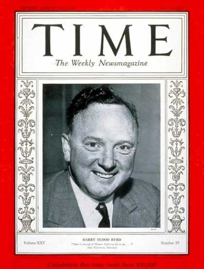Time - Senator Harry F. Byrd - May 13, 1935 - Congress - Senators - Politics