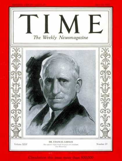 Time - Dr. Emanuel Libman - June 10, 1935 - Health & Medicine