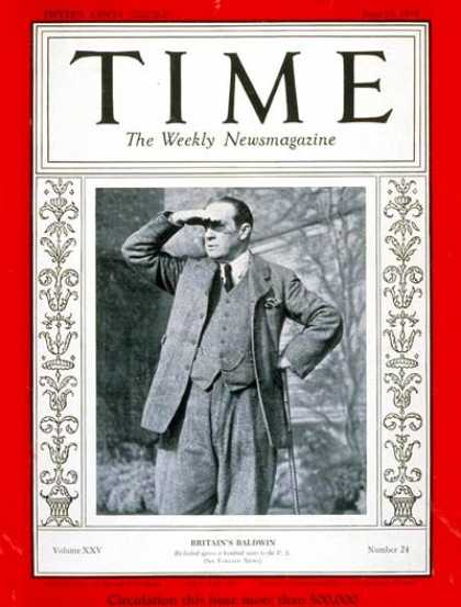 Time - Stanley Baldwin - June 17, 1935 - Business