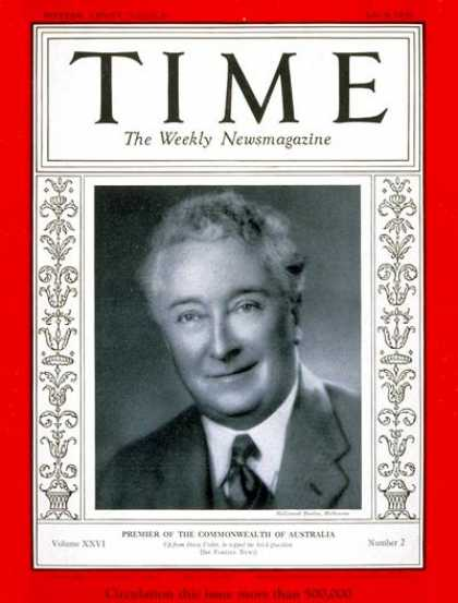 Time - Joseph A. Lyons - July 8, 1935 - Australia