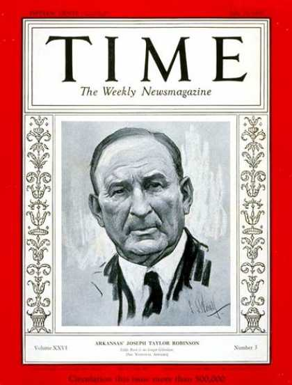 Time - Joseph T. Robinson - July 15, 1935 - Congress - Senators - Politics