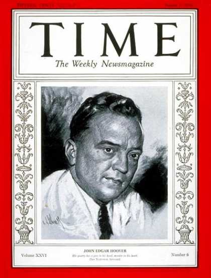 Time - J. Edgar Hoover - Aug. 5, 1935 - Law Enforcement - FBI