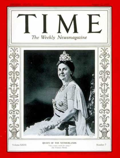 Time - Queen Wilhelmina - Aug. 12, 1935 - Royalty - Netherlands