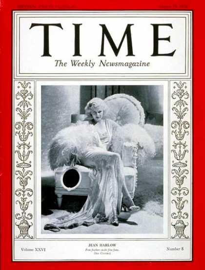 Time - Jean Harlow - Aug. 19, 1935 - Actresses - Movies