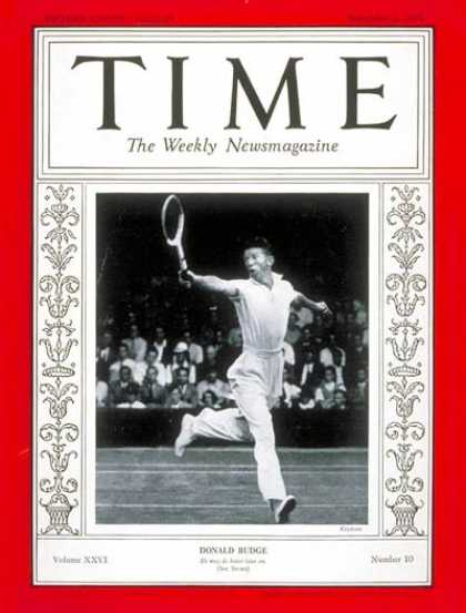 Time - Donald Budge - Sep. 2, 1935 - Tennis - Sports