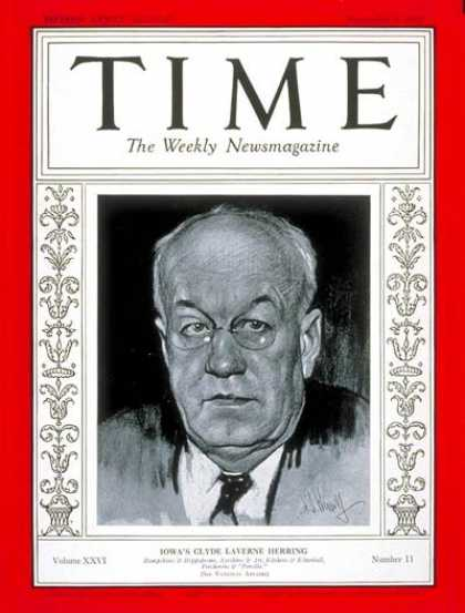 Time - Governor Clyde L. Herring - Sep. 9, 1935 - Governors - Politics