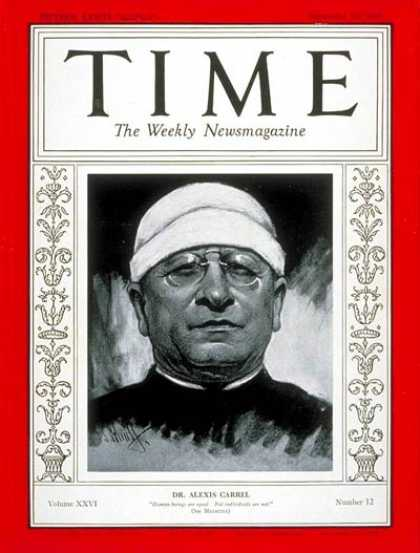 Time - Dr. Alexis Carrel - Sep. 16, 1935 - Health & Medicine