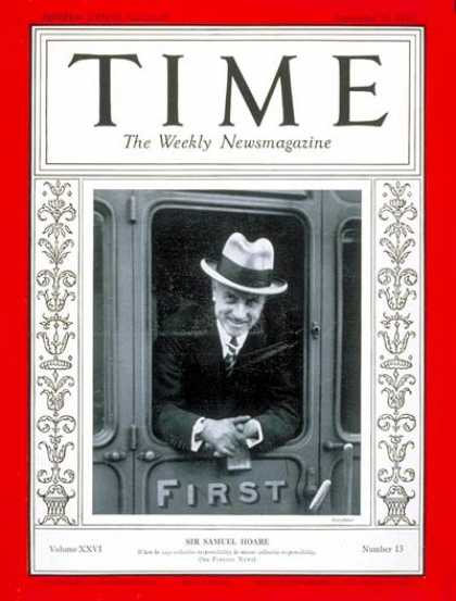 Time - Sir Samuel Hoare - Sep. 23, 1935 - Samuel Hoare - Great Britain