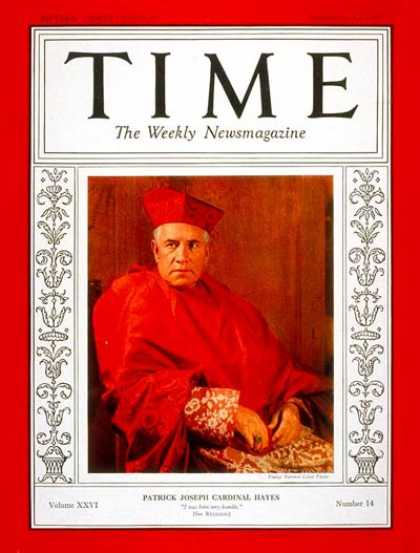 Time - Cardinal Hayes - Sep. 30, 1935 - Religion - Catholicism