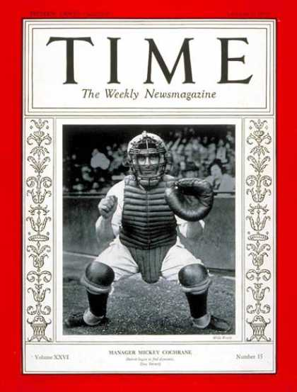 Time - Mickey Cochrane - Oct. 7, 1935 - Baseball - Detroit - Sports