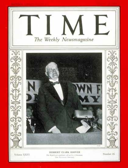 Time - Herbert C. Hoover - Oct. 14, 1935 - Herbert Hoover - U.S. Presidents - Politics