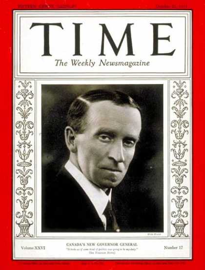 Time - Governor General John Buchan - Oct. 21, 1935 - Canada - World War II - Governors
