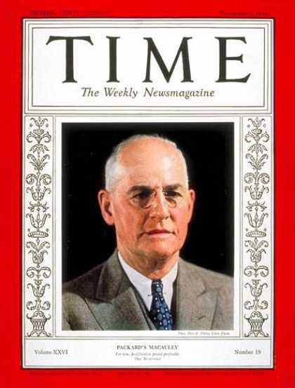 Time - James A. Macauley - Nov. 4, 1935 - Finance - Politics
