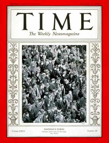 Time - Football Spectators - Nov. 11, 1935 - Football - Sports