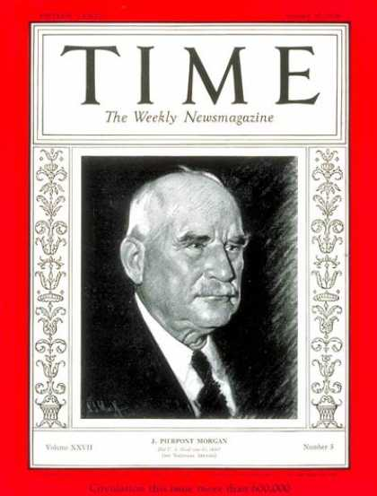 Time - J. Pierpont Morgan - Jan. 20, 1936 - Finance - Business
