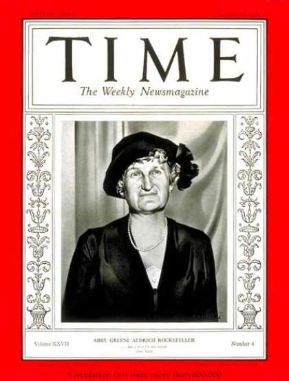 Time - Abby Rockefeller - Jan. 27, 1936 - Philanthropy